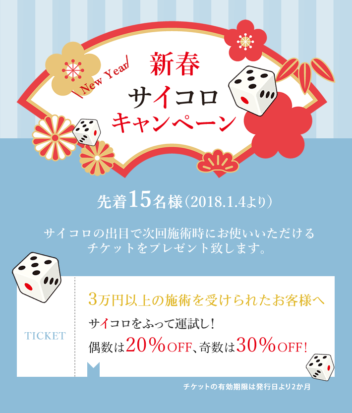 新春サイコロキャンペーン先着15名様(1月4日より)サイコロをふって運試し!偶数は20%OFF、奇数は30%OFF!