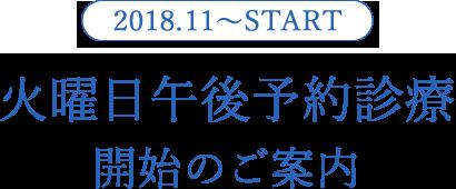 2018年11月より毎週火曜日午後の予約診療が開始します。